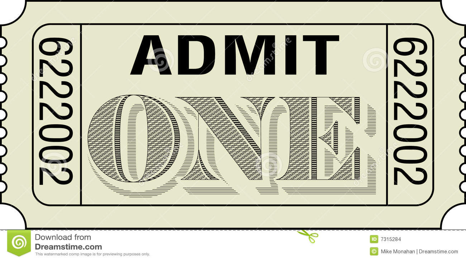 admit one ticket stock images image 7315284. Black Bedroom Furniture Sets. Home Design Ideas