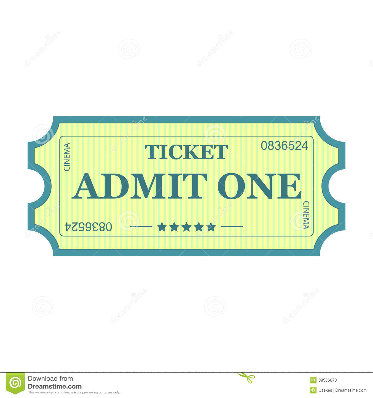 Admit One Ticket Stock Vector - Image: 39506673