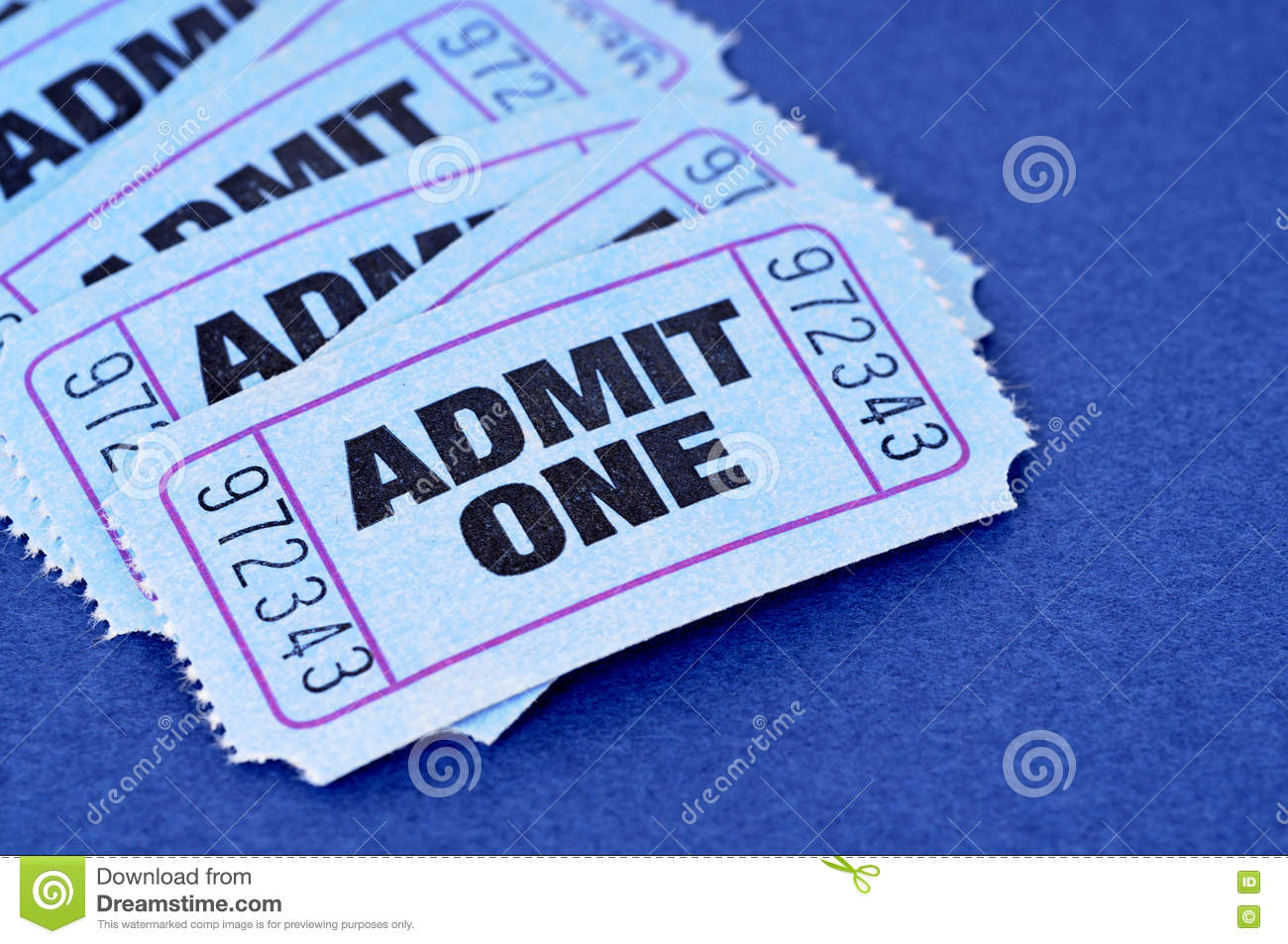 Admit one tickets, blue, untidy pile or stack, closeup