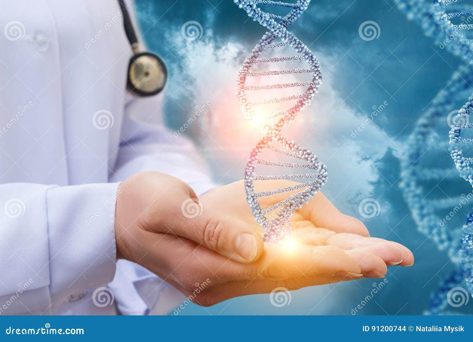ADN nas mãos de um doutor