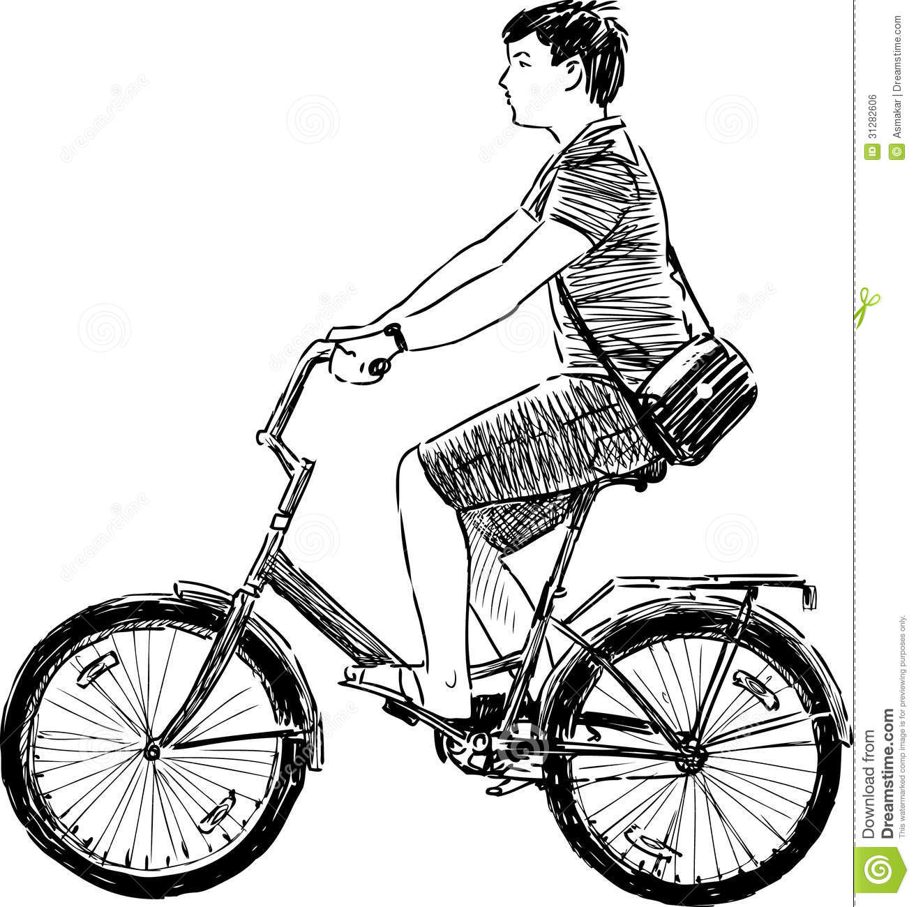 Ado montant une bicyclette photo stock image du croquis - Bicyclette dessin ...