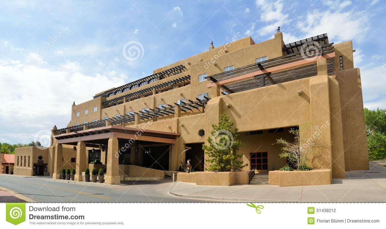 Adobe Architecture Style House In Sata Fe New Stock Photo