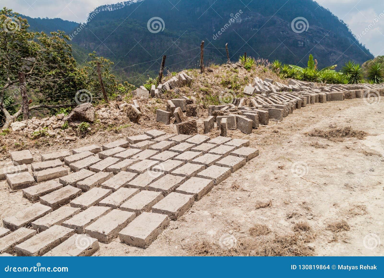 Adobe bricks dry in Belen Gualcho village, Hondur