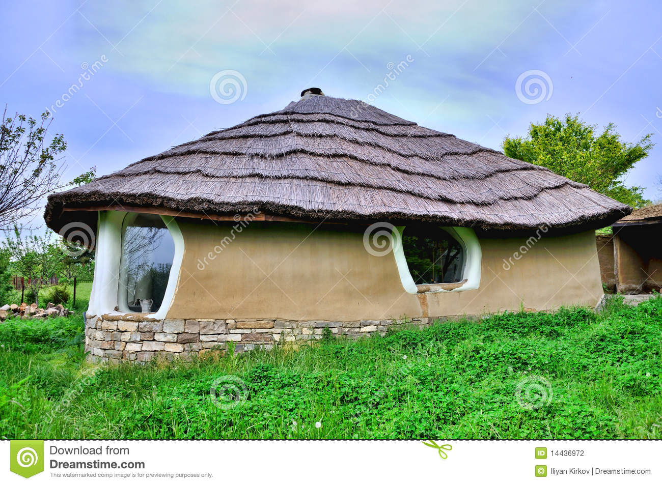 Adobe Clay House With Thatch Stock Photography Image