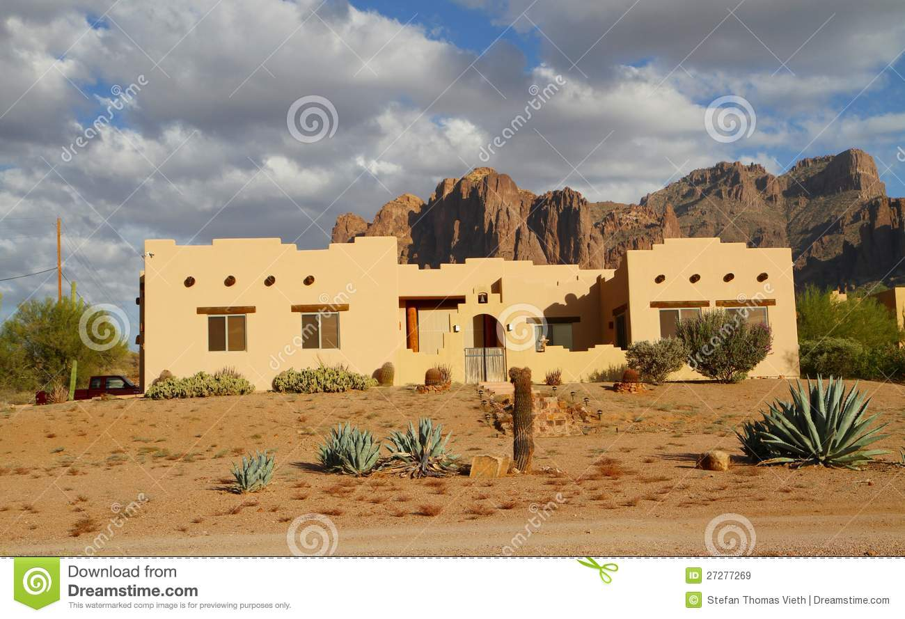 Spanish Colonial Floor Plans Usa Arizona Adobe House In A Desert Royalty Free Stock