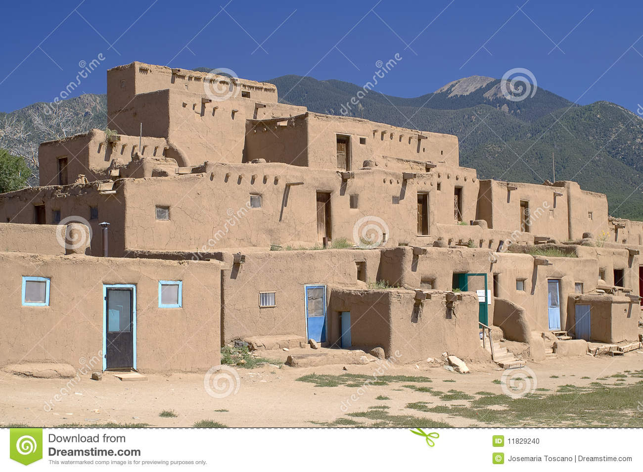 Adobe Houses In The Pueblo Of Taos Stock Photo Image
