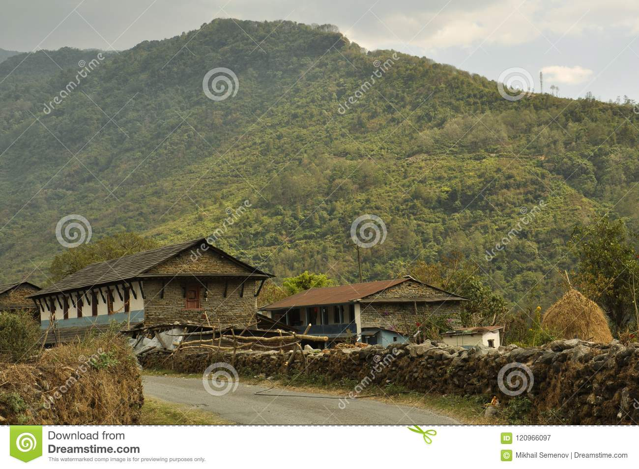 Nepalese Village, Traditional Houses  Editorial Photography