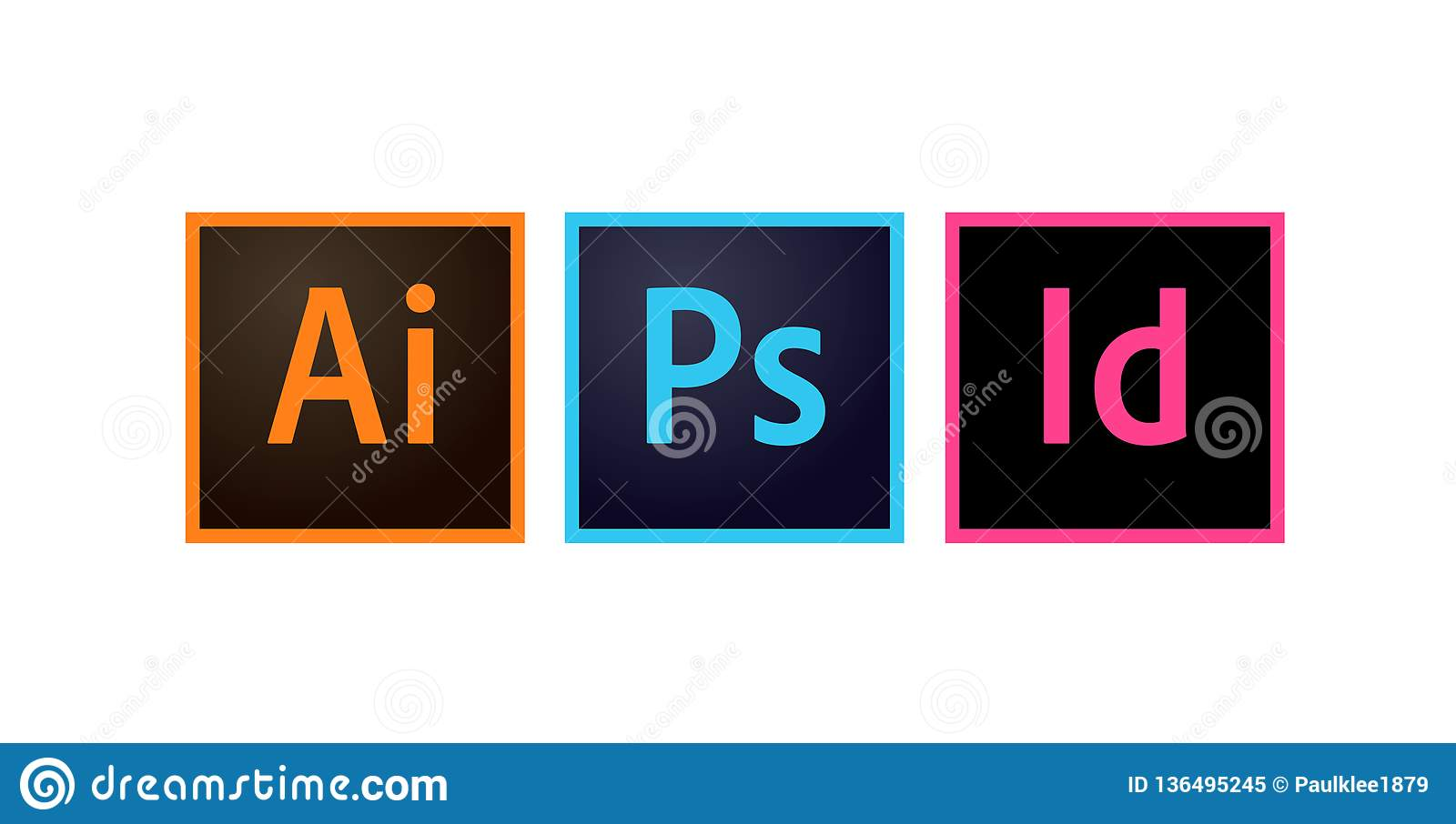 Adobe Icons Photoshop, Illustrator And Indesign Editorial Vector