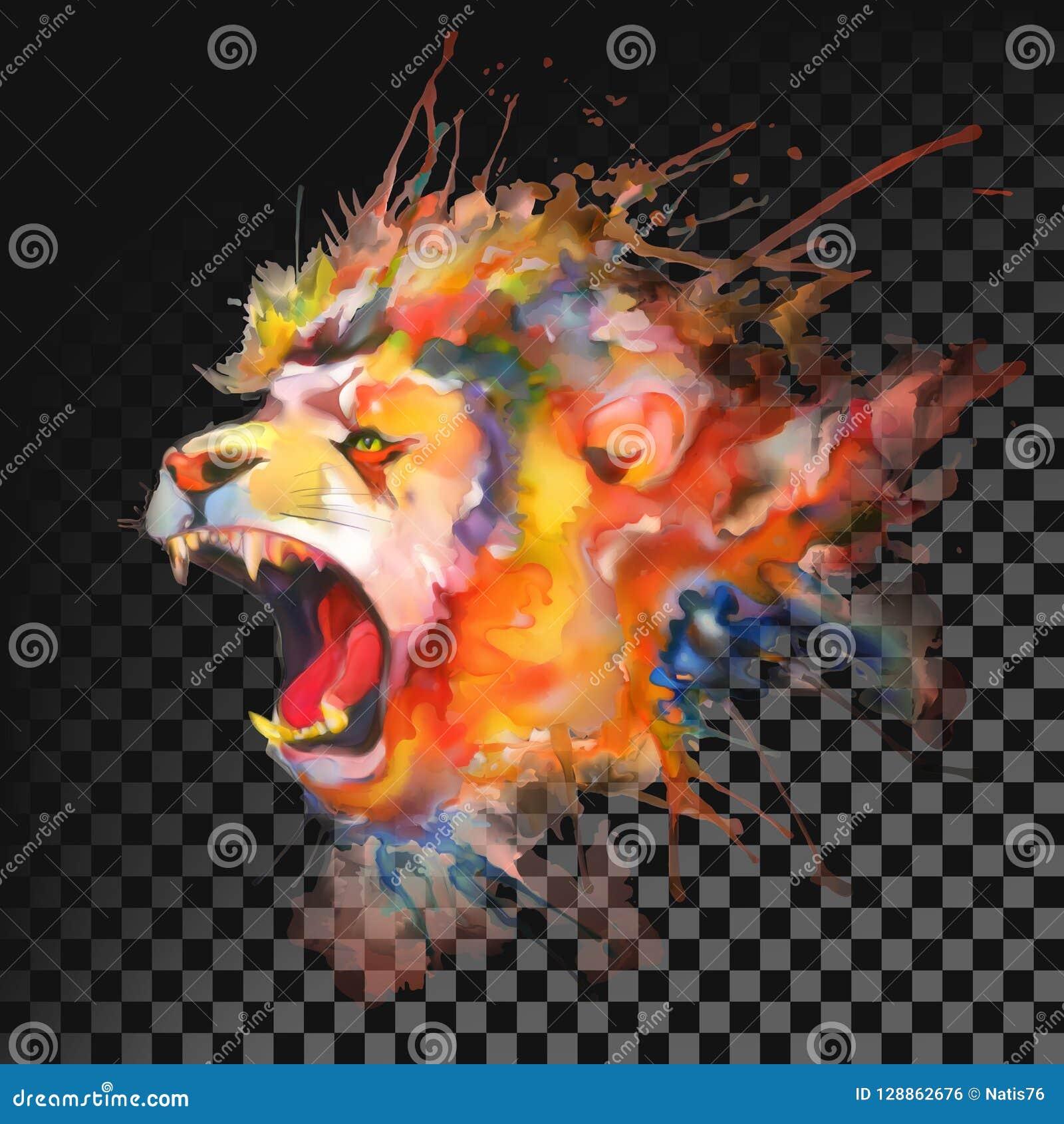Adobe korekcj wysokiego obrazu photoshop ilości obraz cyfrowy prawdziwa akwarela lew Przejrzysty na ciemnym tle