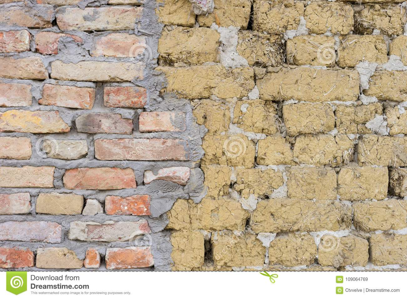 Adobe and red brick wall stock image  Image of crack - 109064769