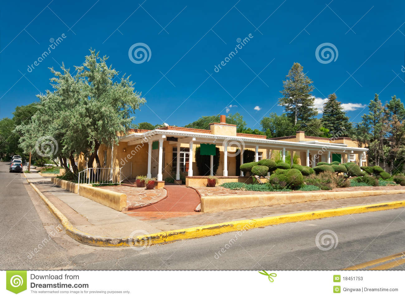 adobe spanish colonial house porch santa fe nm 18451753