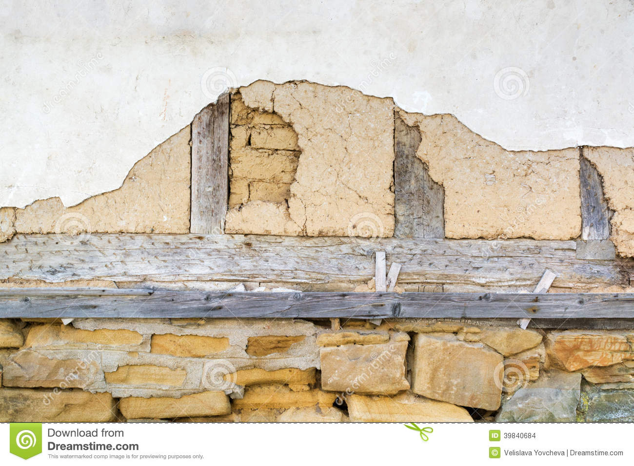Adobe Wall Old White Plaster And Wooden Beams Stock Photo