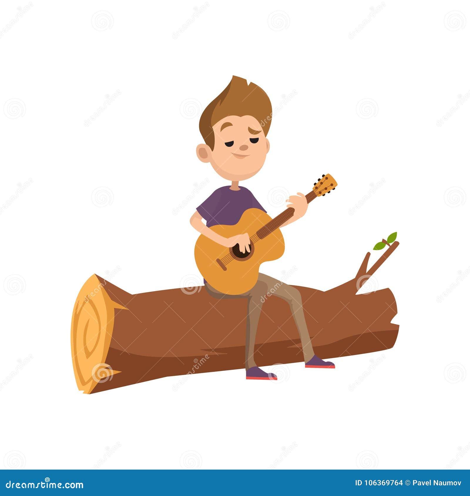 Adolescent mignon de bande dessinée s asseyant sur un rondin et jouant la guitare Activité d été, camping ou concept de hausse Ve