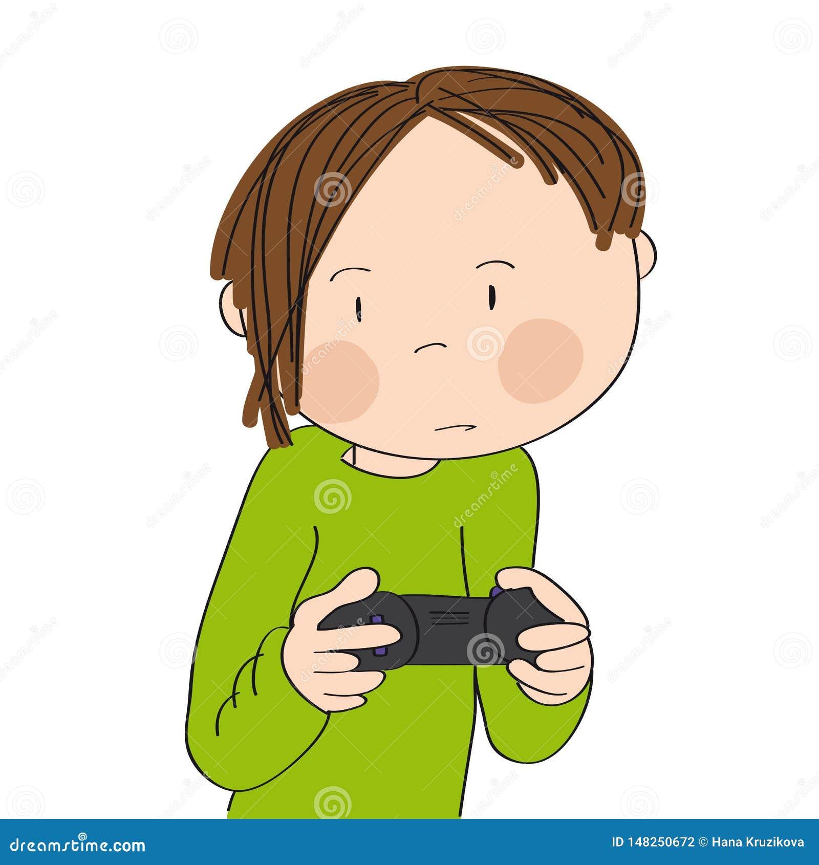 Adolescente che gioca i video giochi sulla console del gioco, leva di comando della tenuta, molto essendo concentrando