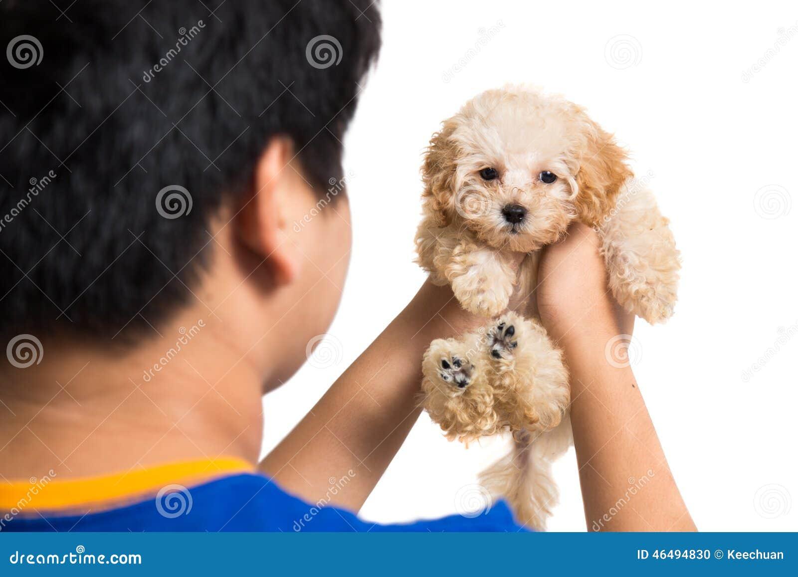 Adolescente que abraza un perrito lindo del caniche