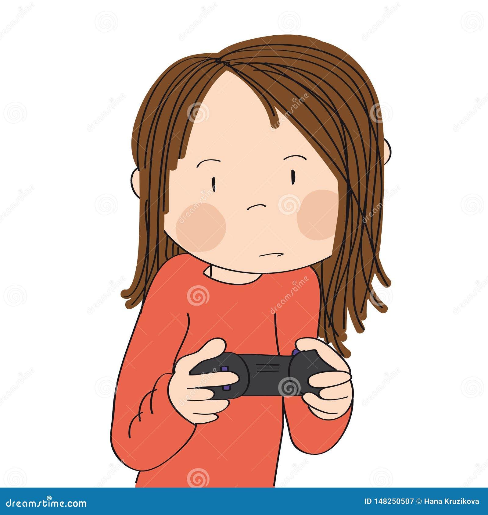 Adolescente que joga jogos de vídeo no console do jogo, manche da terra arrendada, muito sendo concentrado