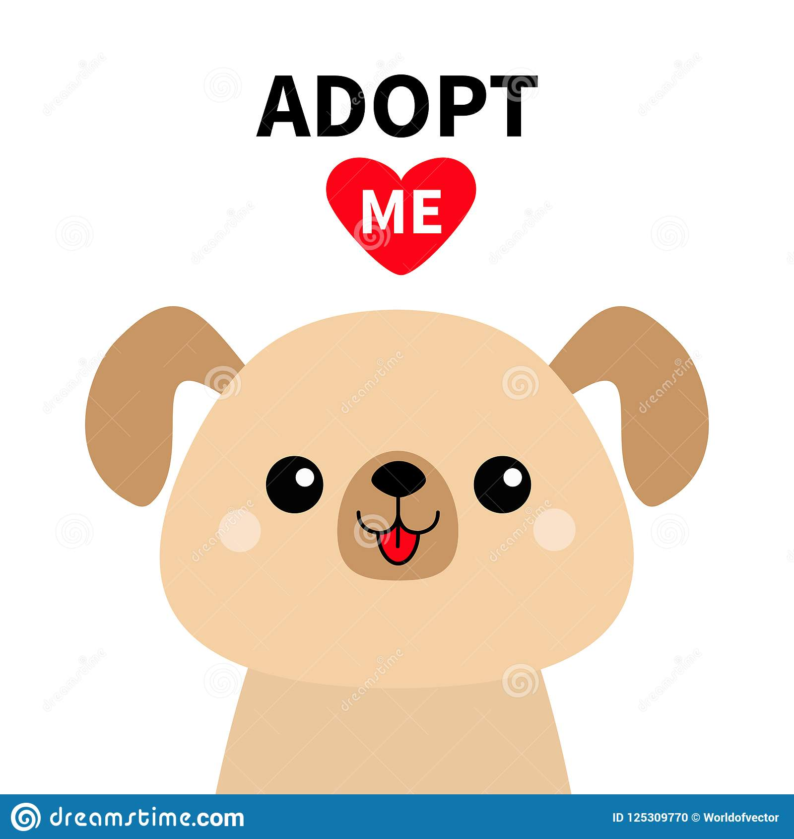 Adopt me. Cute dog face silhouette. Red heart. Pet adoption. Kawaii animal. Cute cartoon puppy character. Funny baby pooch. Help h