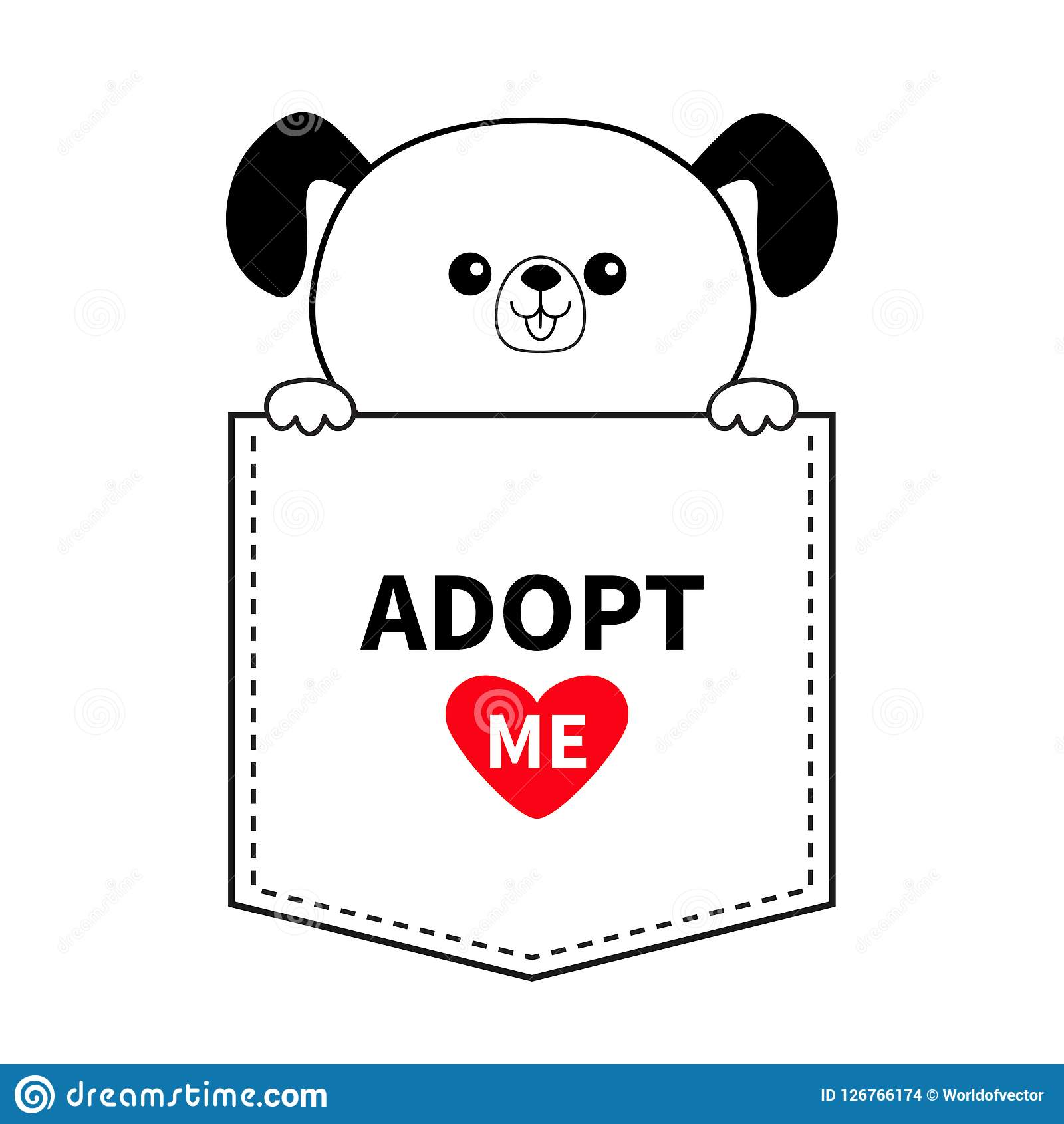 Adopt me. Dog in the pocket. Holding hands. Red heart. Cute cartoon animals. Puppy pooch character. Dash line. Pet animal collecti. On. T-shirt design. Baby Stock Illustration