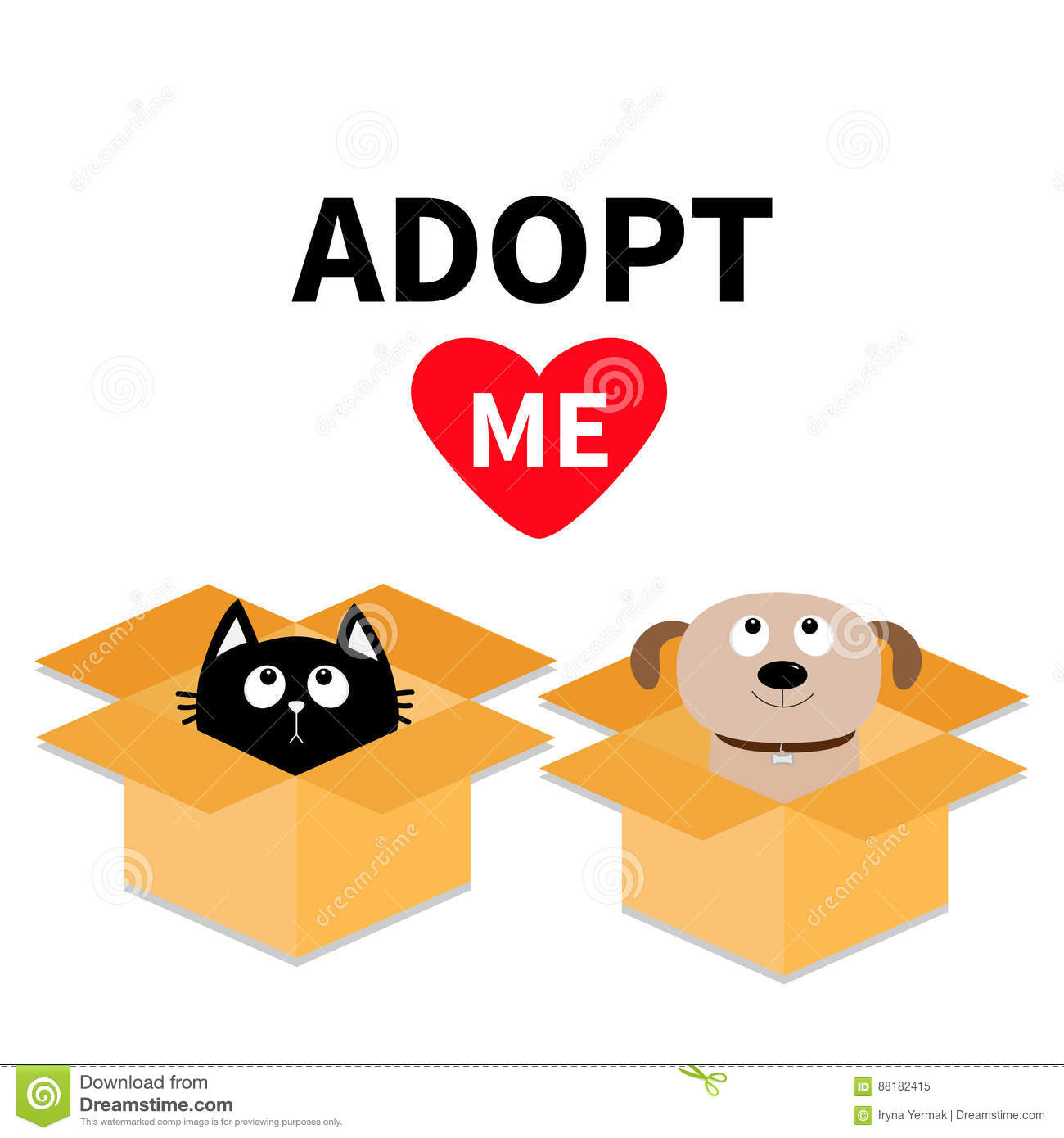 Adopt me. Dont buy. Dog Cat inside opened cardboard package box. Pet adoption. Puppy pooch kitty cat looking up to red heart. Flat