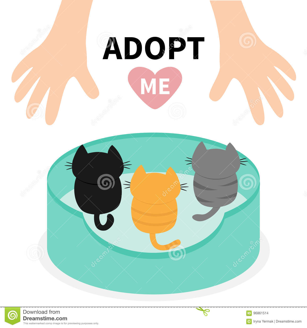 Adopt me. Kittens looking up to human hand. Cat bed. Animal hug. Cute cartoon funny character. Helping hands concept. Pink heart.