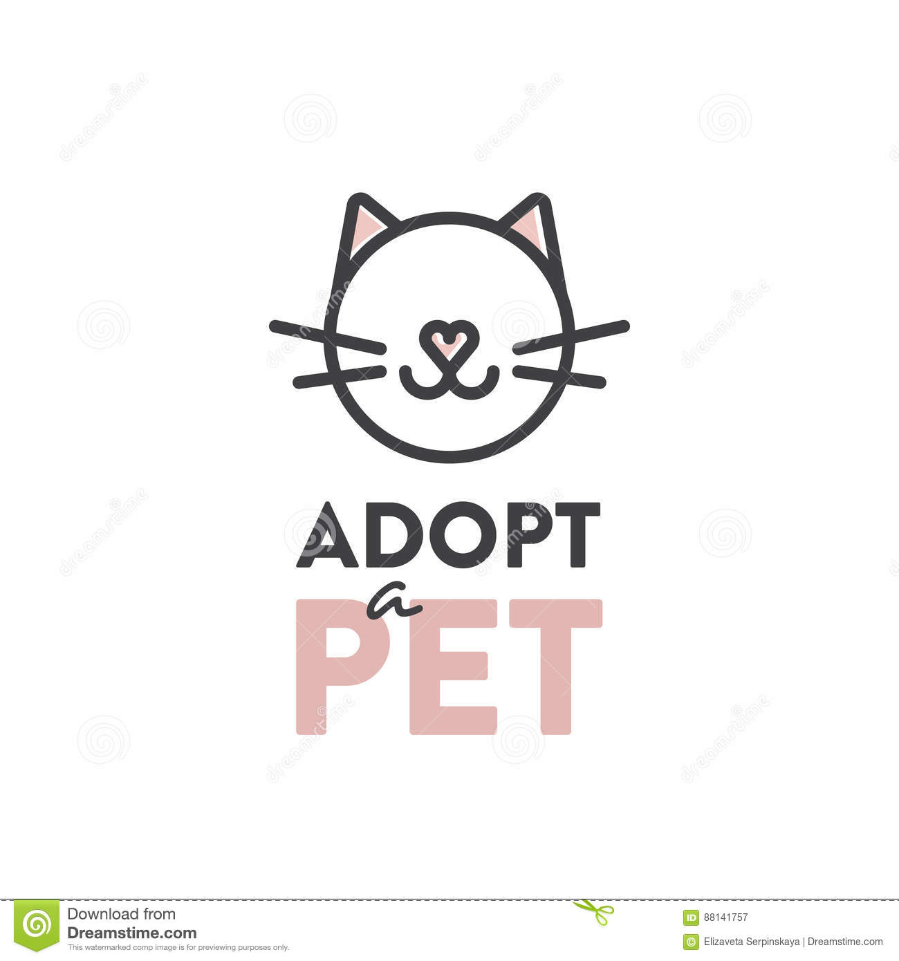 Adopt A Pet Banner New Owner Domestic Animal Farm Hotel Isolated Minimalistic Object Stock Illustration Illustration Of Banner Domestic 88141757