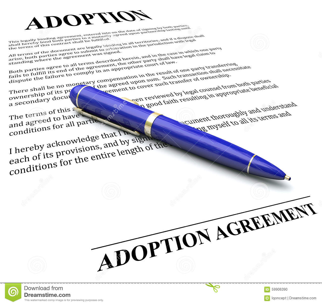 Adoption Agreement Contract Pen Signing Official Legal Document