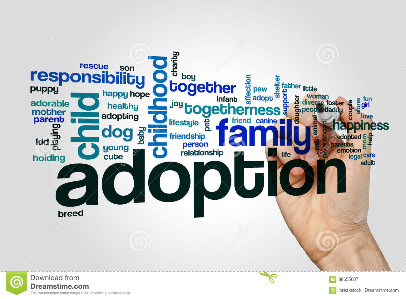Adoption word cloud concept on grey background