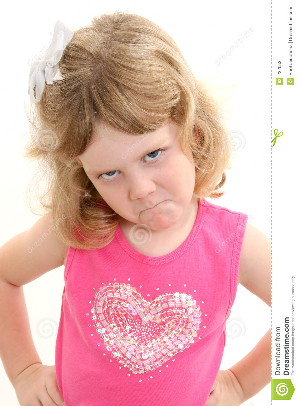 Four Year Two Year Community: Adorable 4 Year Old Girl Pouting With Hands On Hips Stock