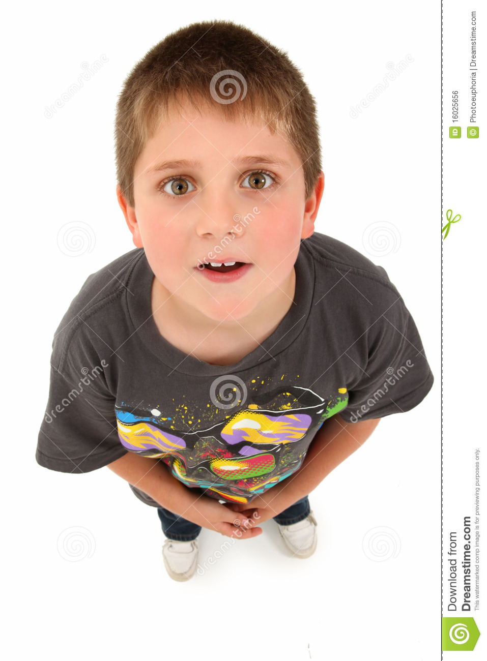 8 Year Boy Bedroom Design: Adorable 8 Year Old Boy Looking Up Stock Photo