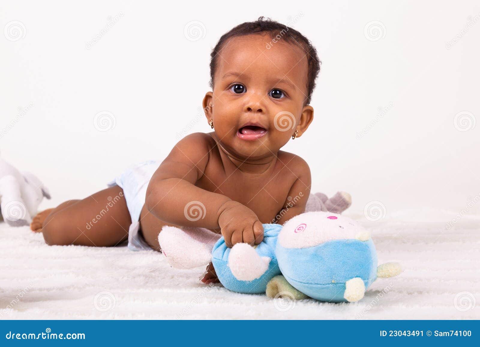 Adorable african american baby girl lying down stock image image 23043491 - African american baby pics ...