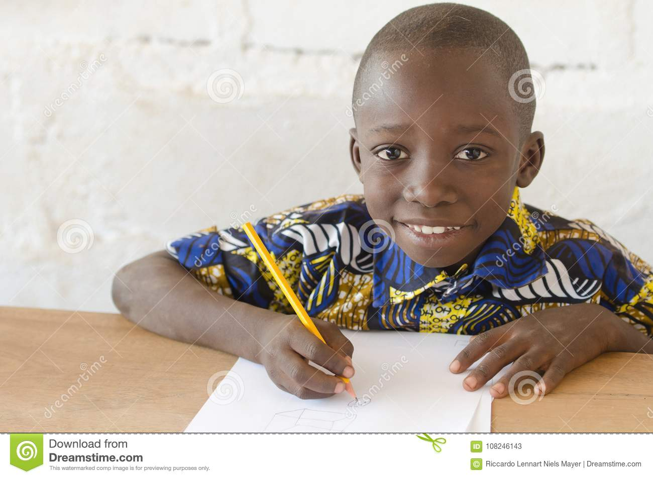 Adorable African Boy at School Looking at Camera with Copy Space