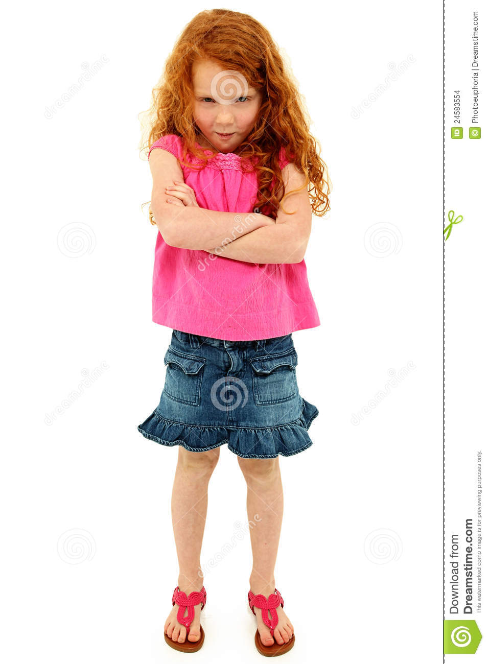 Adorable Angry Young Girl With Arms Crossed Stock Images