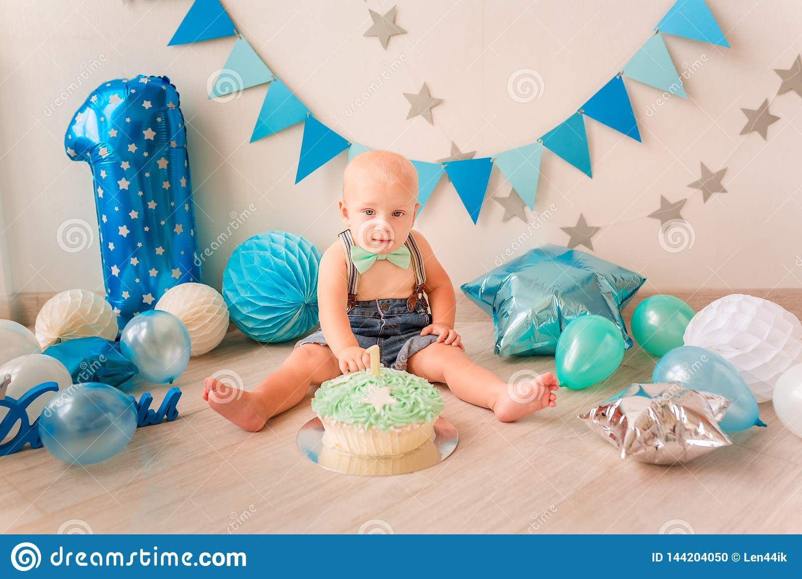 Surprising Adorable Baby Boy Celebrating His First Birthday Smash Cake Stock Funny Birthday Cards Online Unhofree Goldxyz