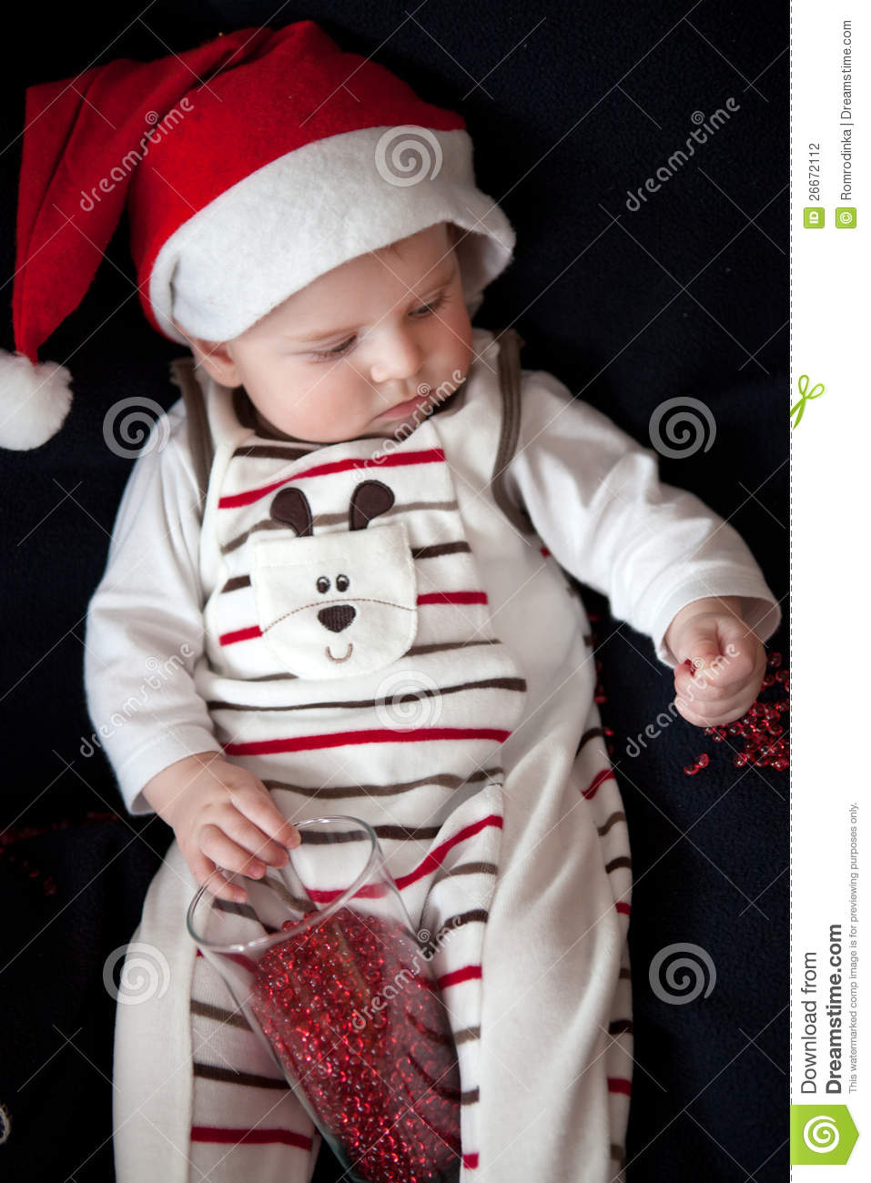 a558441a172 Adorable Baby Boy With Christmas Cap Stock Photo - Image of portrait ...