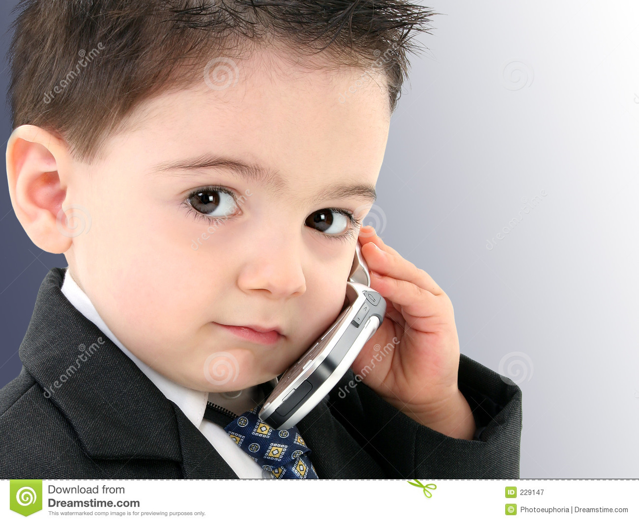d1633c031 Adorable Baby Boy In Suit On Cellphone Stock Image - Image of ...