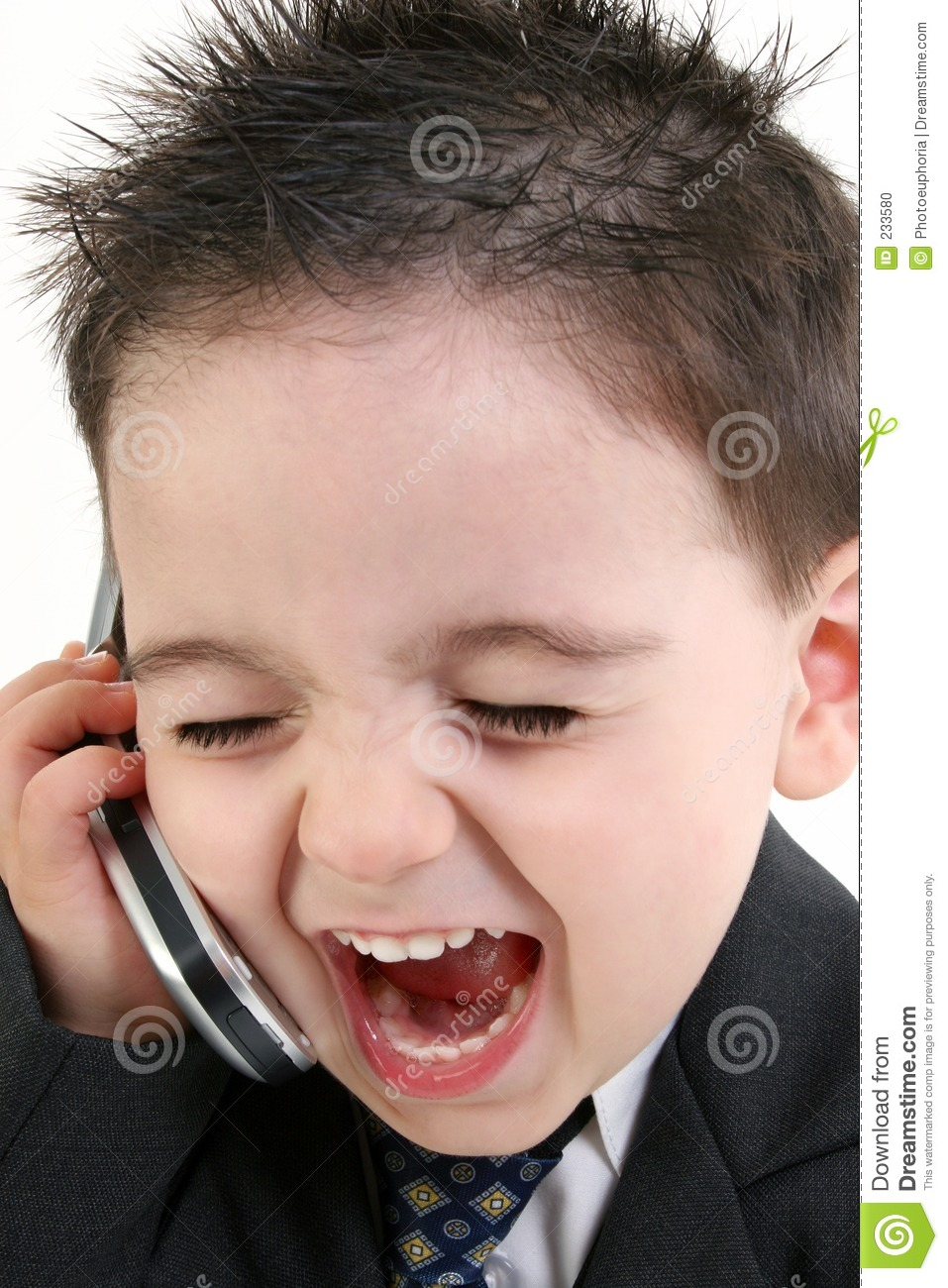 19fa2af56 Adorable Baby Boy In Suit Yelling Into Cellphone Stock Photo - Image ...