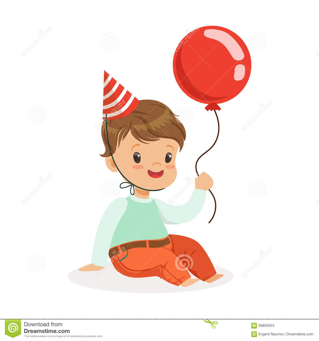 Cartoon Characters Birthdays : Adorable baby boy wearing a red party hat sitting and