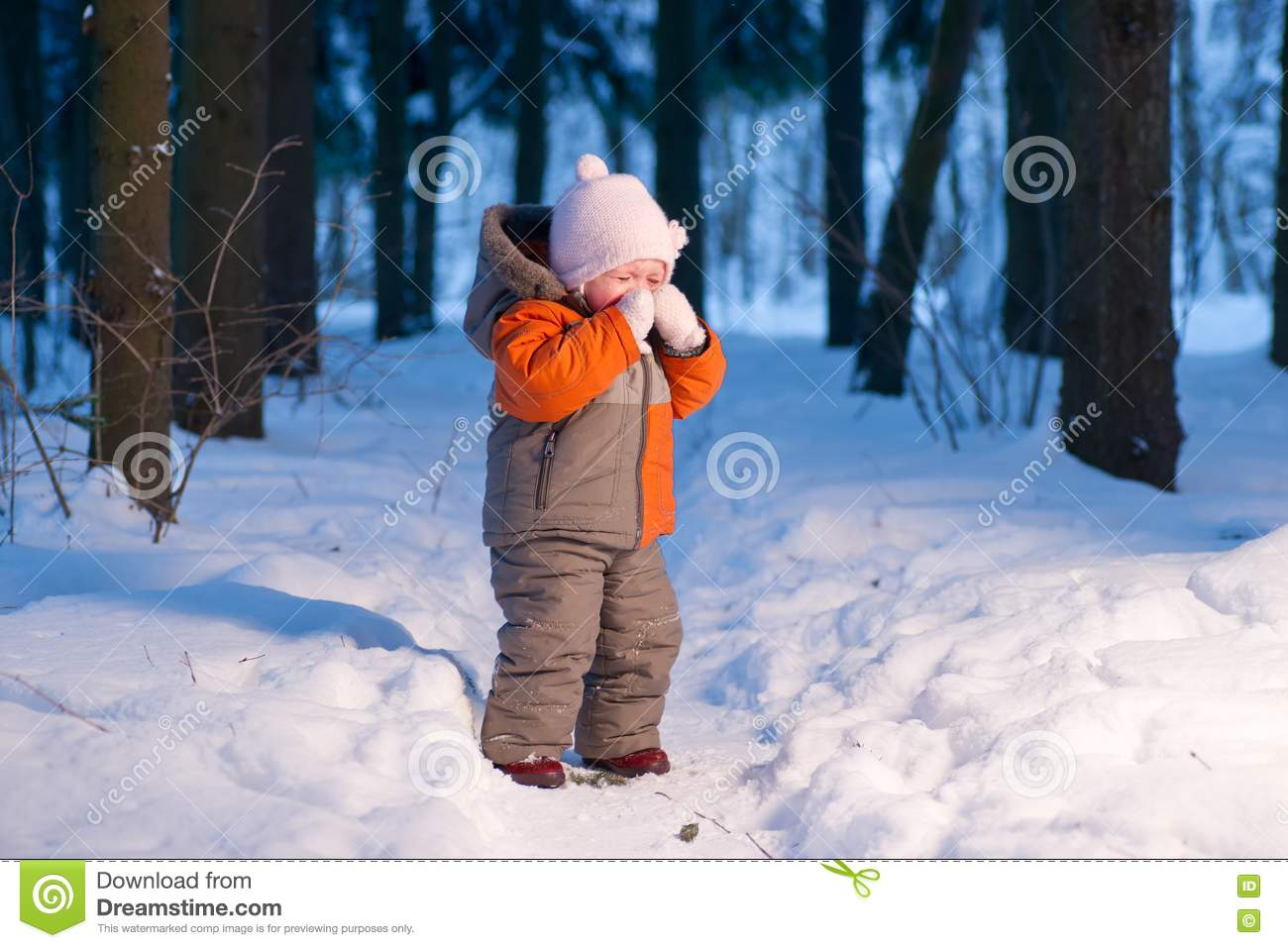 Adorable Baby Cry On Snow Road In Forest Stock Image