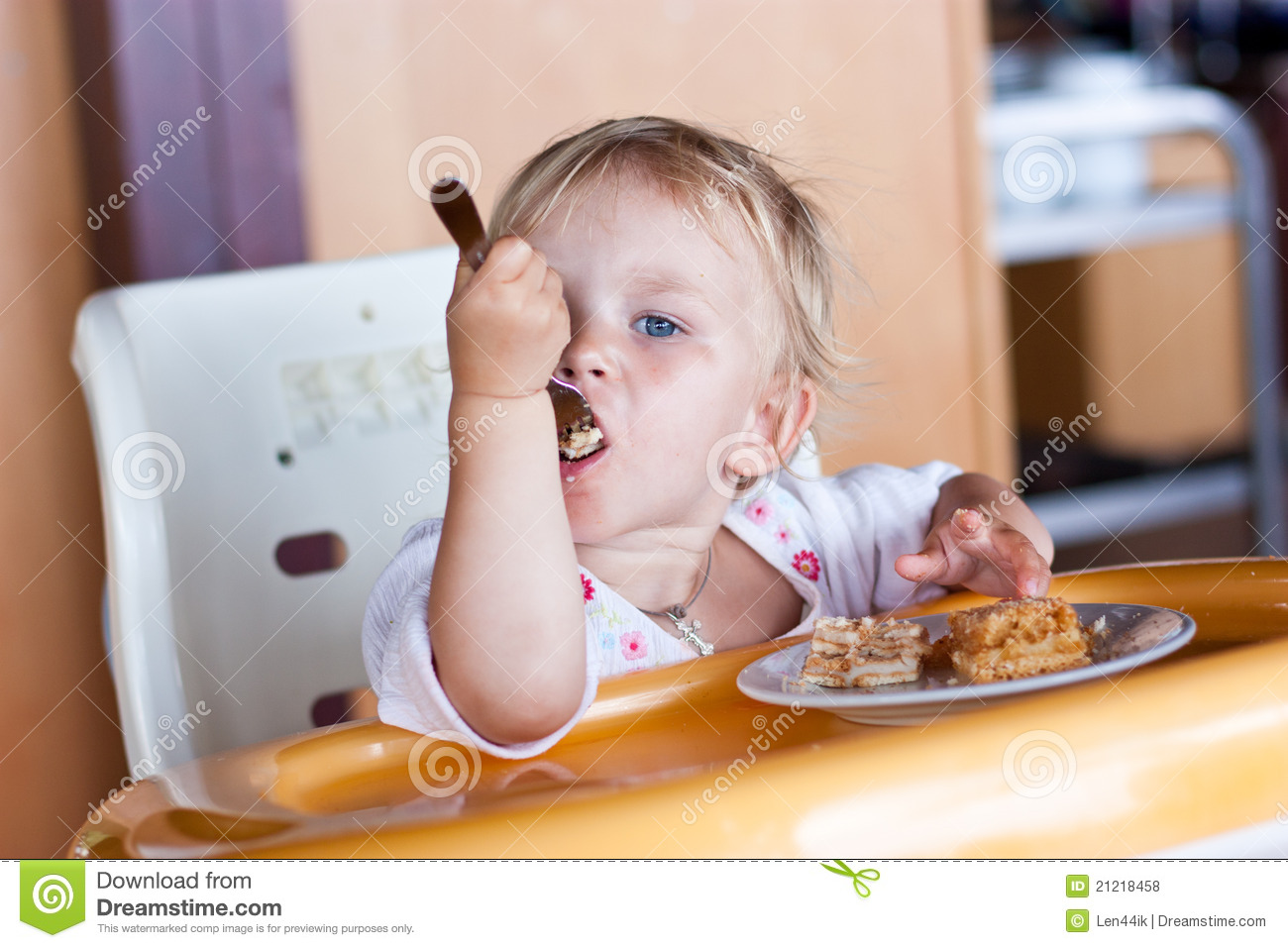 Baby Eating Cake Clipart : Adorable Baby Eating Cake In A Chair Royalty Free Stock ...