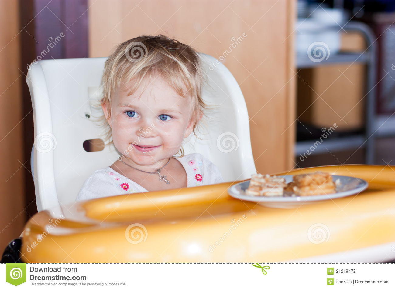 Baby Eating Cake Clipart : Adorable Baby Eating Cake In A Chair Stock Photography ...