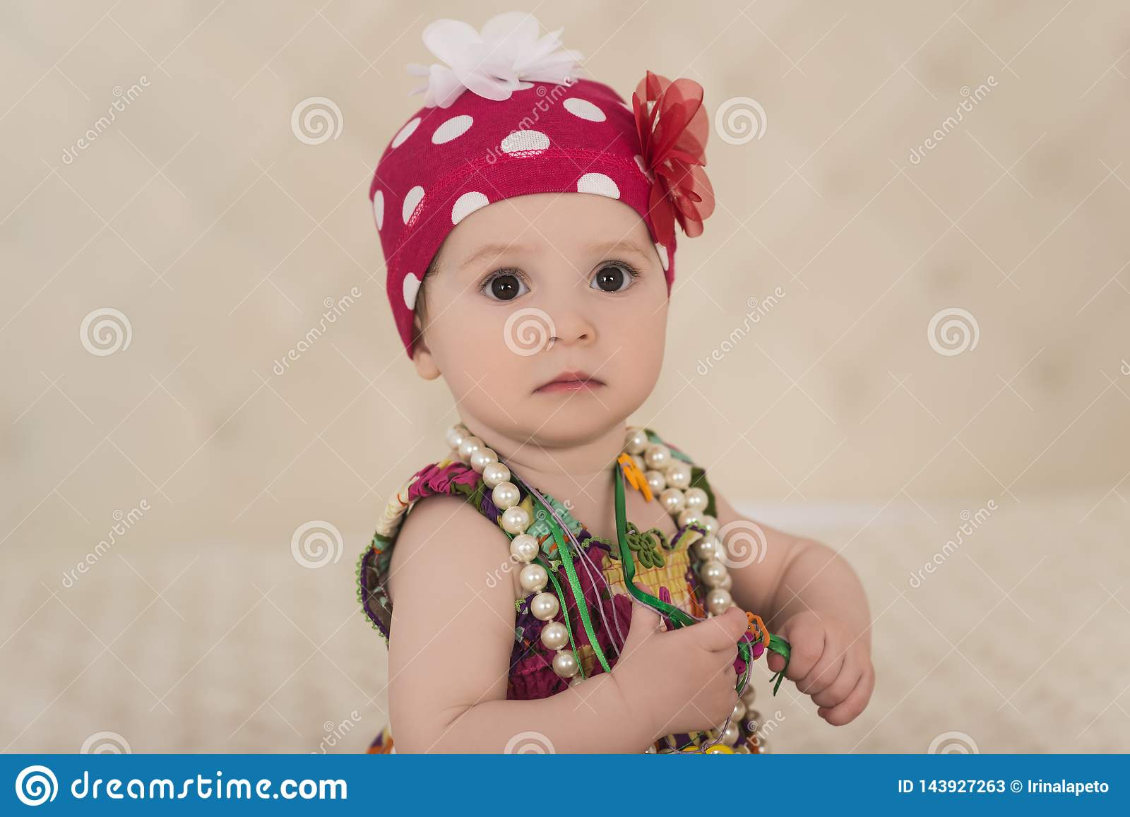 63d6d4f3eca Portrait Of Cute Baby Girl With Big Eyes