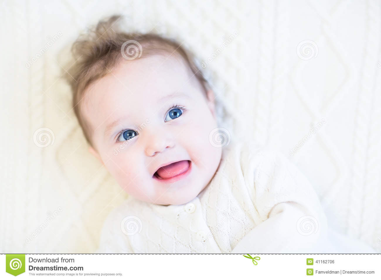 Awesome Adorable Baby Girl With Curly Hair On A White Cabl Stock Photo Hairstyles For Women Draintrainus
