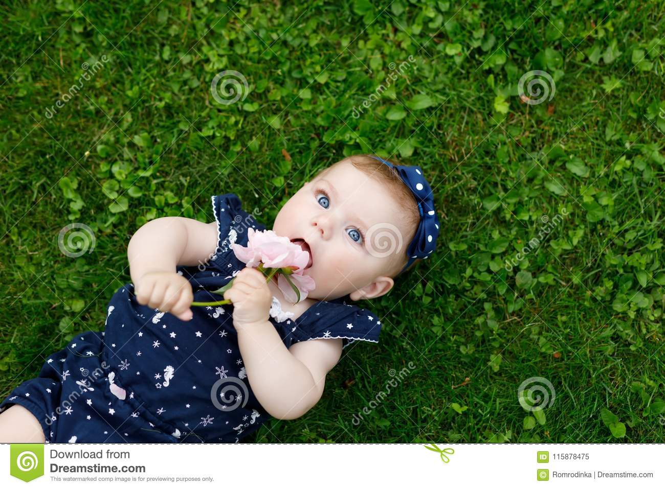 3cb739f1d Adorable Baby Girl On Grass With Strawberries Six Moths Stock Image ...
