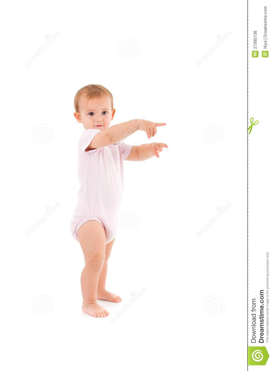 Adorable baby girl making first steps royalty free stock image image