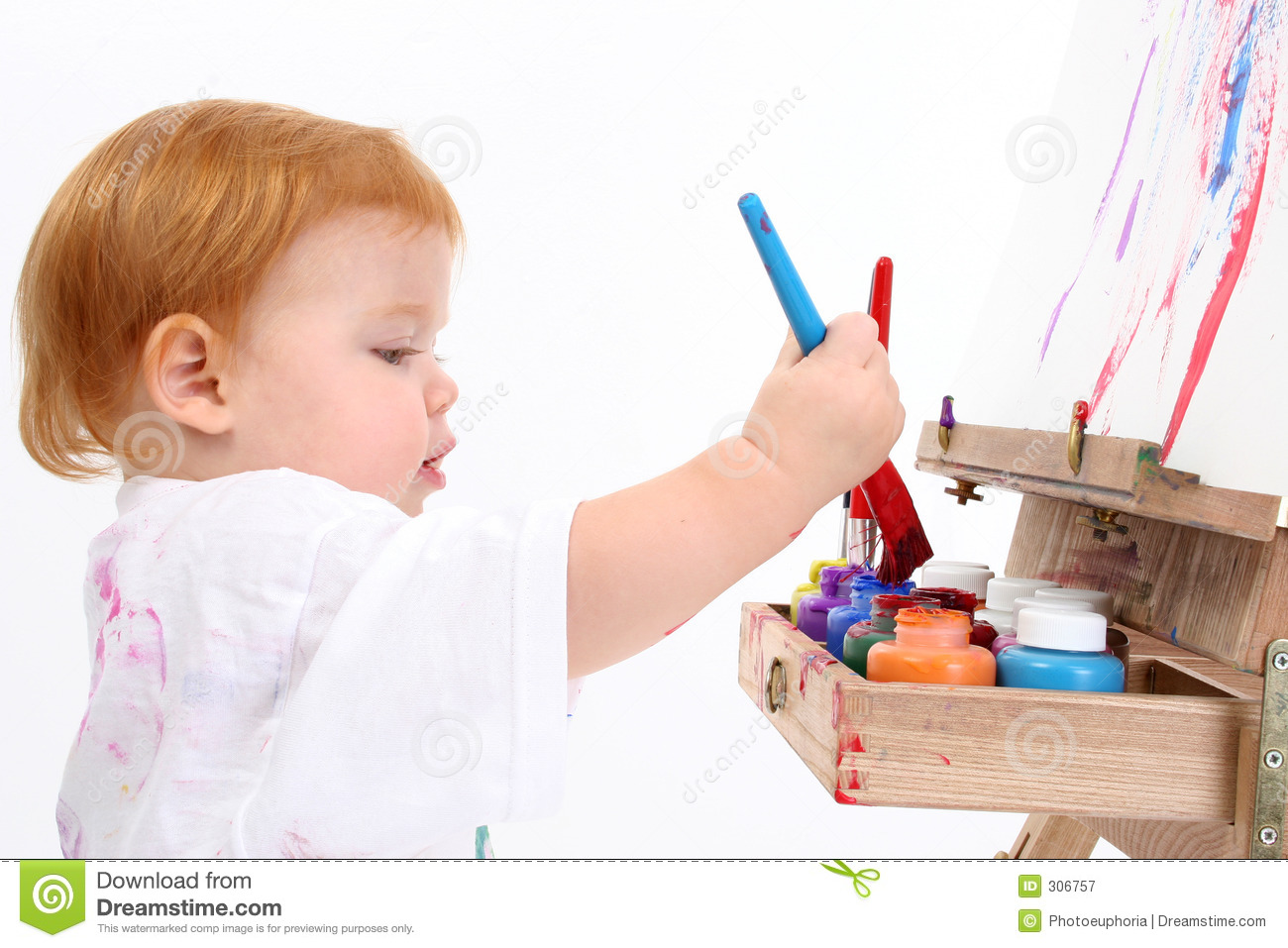adorable baby girl painting at easel stock image image of american rh dreamstime com