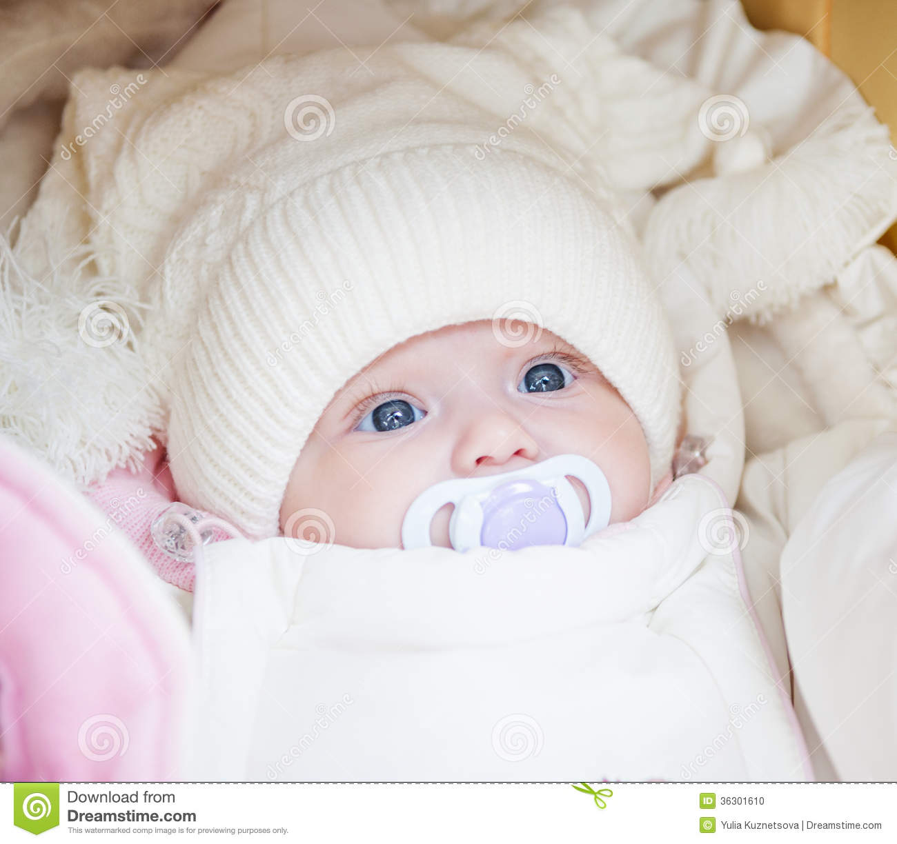 43427527b Adorable Baby Girl Wearing Winter Hat Stock Photo - Image of ...