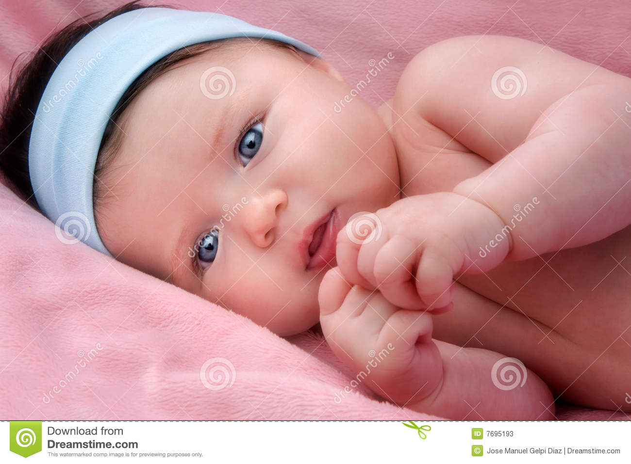 Adorable Baby Newborn With Blue Eyes Stock Photos Image