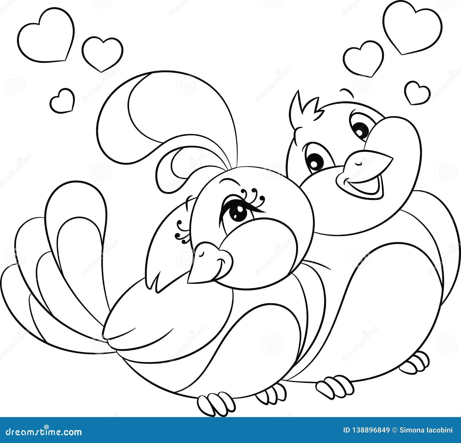 Black and white kawaii illustration of a bird couple