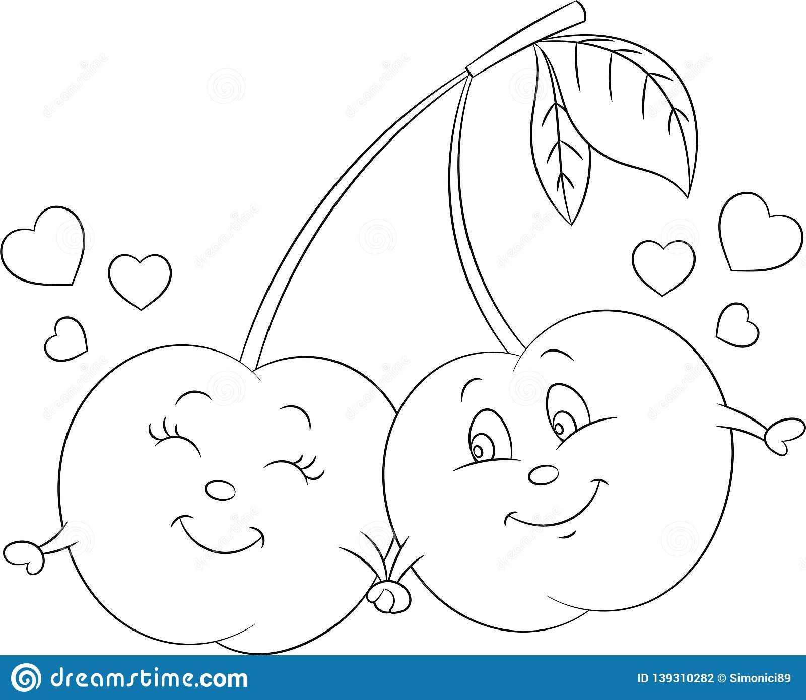 Adorable contour kawaii drawing of a cherry couple in love