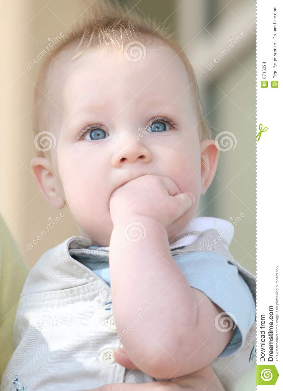 Adorable Blue Eyed Baby Boy Sad Stock Images - Image: 6715294
